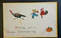 1915 Waterbury NE To Parkston SD Thanksgiving Greetings Embossed Postcard Cover
