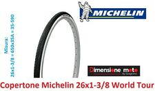 "Copertone ""michelin"" 26x1-3/8 World Tour Bianco/nero per bici 26"" City Bike"