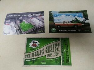 "Set Of 3 Arctic Cat Promo Dealer Cards 8.5"" X 5.5"""