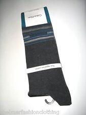BNWT - CALVIN KLEIN Fine Egyptian Cotton Striped  Socks  Size 6.5 - 11  Grey