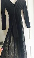 KOOKAI WOMENS OVERLAY SHORT DRESS BLACK SILK MAXI BODYCON SZ 1