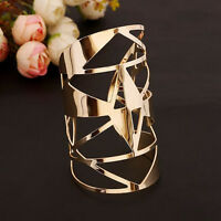 Luxury Women Gold Plated Geometric Hollow Punk Bangle Cuff Wide Bracelet Jewelry
