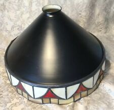 LARGE BLACK METAL LAMPSHADE WITH COLOURED TIFFANT STYLE GLASS LEADED TRIM