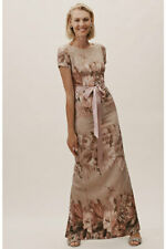 BHLDN Adrianna Papell Melinda Floral Taupe Maxi Dress Mother of the Bride 10 NWT