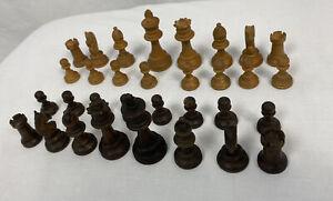 Vintage Wooden Chess Pieces, Complete Set