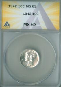 1942 MERCURY DIME ANACS MS-63 FREE S/H (2127225)