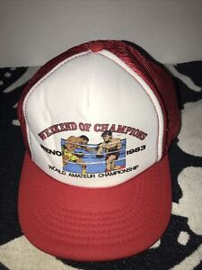 Vtg 1983 World Amateur Championship Boxing Reno NV Trucker Hat Weekend Of Champs