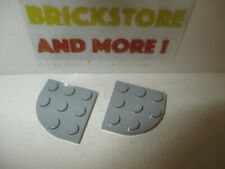 Lego - 2x Plate Plaque Ronde Round Corner 3x3 30357 Gray/Gris/Grau