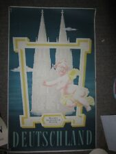 Deutschland Germany 1950s Travel Poster Vintage Cologne Cathedral