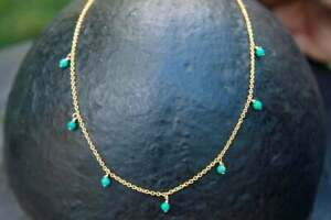 """10K Yellow Gold Over Beauty Turquoise Dainty Beaded 18"""" Chain Necklace Dangling"""