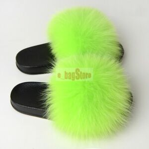 2019 Women Fluffy Real Fox/Raccoon Fur Slides Slipper Outdoor Flat Shoes Sandals