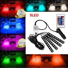 4Pcs 9LED Remote Control Colorful RGB Car Interior Floor Decorative Lights Strip