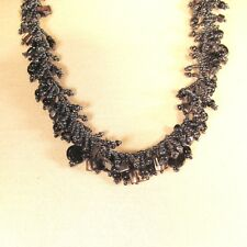 """22"""" Hematite Color Stone Shell Chip Handmade Seed Bead Necklace FREE SHIPPING!!"""