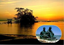 Sunset Japan Postcard Water Trees Statues Couple Beach Structure in Ocean New