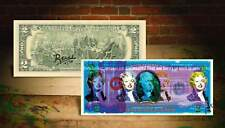 MARILYN MONROE BLUE Rency / Banksy Warhol Pop Art $2 Bill Signed by Artist #/70