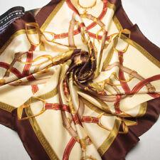 "35"" large Square 100% Silk satin Scarf Women Neck Shawl Wrap brown red 203-023"