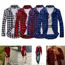 Mens Plaid Check Long Sleeve Casual Shirt Slim Fit T-Shirts Tees Tops 2018