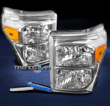 2011-2016 FORD F250 F350 F450 SUPERDUTY HEADLIGHT LAMP CHROME W/BLUE DRL LED KIT