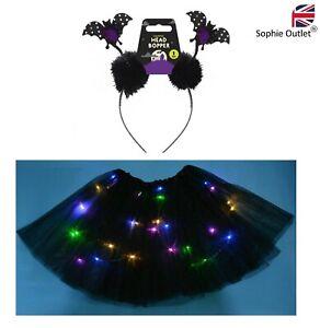 Halloween LIGHT UP BLACK BAT TUTU COSTUME Girls Toddler Ladies Fancy Dress UK