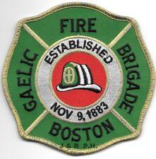 "Boston  Gaelic Fire Brigade - 1883, MA (4.5"" x 4.5"" size) fire patch"