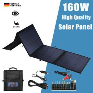 12V 160W Folding Solar Mat Black Blanket Solar Panel Kit Camping Charger Power