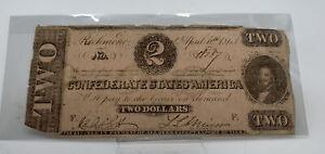 1863 Confederate States of America $2 Note