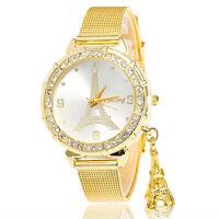 Armbanduhr Uhr Damenuhr Strassarmband Armband Gold Strass Glitzer watch  NEU.