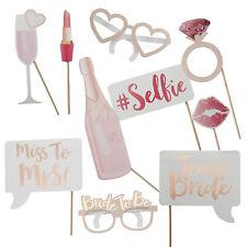 10pcs Wedding Bachelorette Photo Booth Props Rose Gold Team Bride Hen Party Set