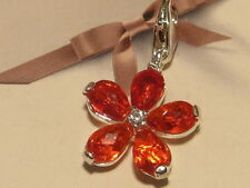 LOBSTER CLIP ON SILVER & RED CZ FLOWER PETAL CHARM -  FIT CARRIER BRACELET