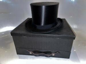 Antiker Zylinder Hut Chapeau Claque Top Hat Gr 59 / 60 XXL regenfest & neuwertig