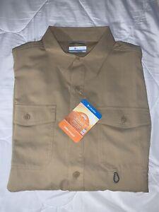 Men's COLUMBIA Long Sleeve Brown James Bay Shirt OMNI-SHADE UPF 40 M, L, XL, XXL