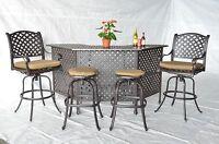 Nassau Outdoor Patio 5pc Party Bar Set Cast Aluminum Dark Bronze