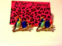 NWT BETSEY JOHNSON BLUE BIRD ENAMEL & BLUE CRYSTAL EARRINGS
