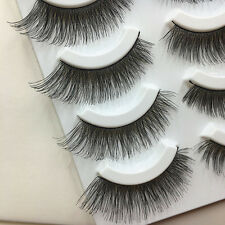 5 Pairs Soft Cross Long Thick False Eyelashes Nautral Handmade Makeup Eye Lashes