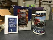 """1995 Budweiser Holiday """"Lighting the Way Home"""" Stein In Box With Coa"""