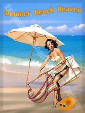 Summer Beach Heaven Seaside Pin-up Deck Chair Holiday Sand Large Metal/Tin Sign