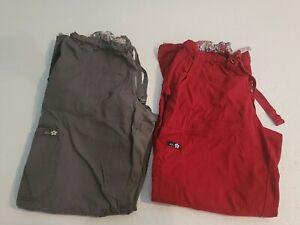 Lot Of Koi Scrub Pants Size Large Gray And Maroon