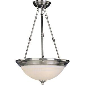 Maxim Lighting 3-Light Invert Bowl Pendant Satin Nickel - 5845MRSN