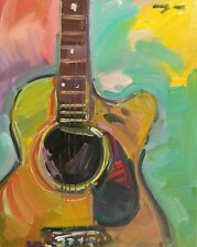 JOSE TRUJILLO OIL PAINTING ACOUSTIC GUITAR IMPRESSIONISM ABSTRACT MODERN ART