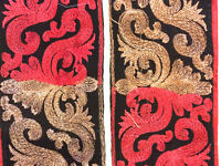 Vintage Silk Antique Sari Border Woven Indian 1Yd Trim Embroidered Ribbon
