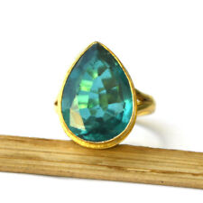 Pear Apatite Quartz Sterling Silver Yellow Gold Handmade Gift Ring Size 7