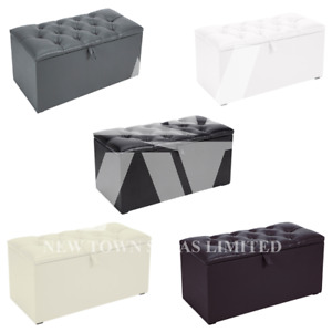 Chesterfield PVC Faux Leather Buttoned Ottoman Storage Boxes Footstool Toye's