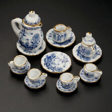 PRO 15Pcs Dining Ware Ceramic Blue Flower Tea Set for 1:12 Dollhouse Miniatures