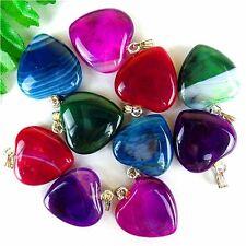 10Pcs Multicolor Dragon Veins Agate Peach Heart Pendant Bead 20*20*6mm AE1847