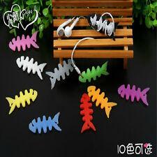 20 X mezcla de color de peces Hueso Enrollador de Cable Organizador Para Auriculares Mp4 Mp3 Iphone