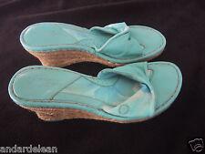 BORN Drilles Platform Espadrille Aqua Blue Green Leather Sandals Shoes Size 8 MW