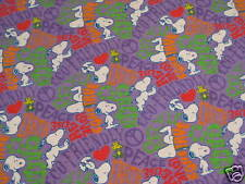SALE - Peanuts Snoopy Recycle Conserve Flannel Fabric - 1 Yard - Purple