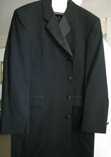 Jacket size 40 Four Button Men Overcoat Black Wool 40R Fumagalli's - Long Coat