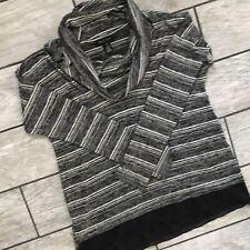 White House Black Market Women Sweater Grey Striped Big Turtleneck Collar Sz. S