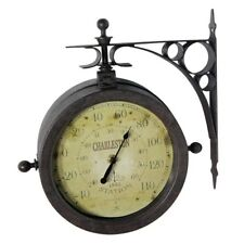 Outdoor Wall Clock Thermometer Rustic Double Sided Patio Home Decor Porch Deck